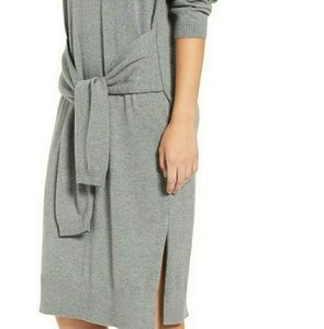 Comfy & Casual Heather Grey Tie Front Knit Dress